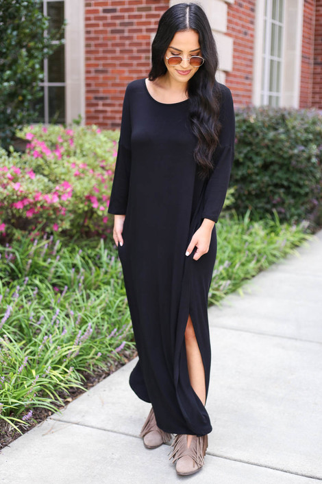 Model wearing Black 3/4 Sleeve Maxi Dress