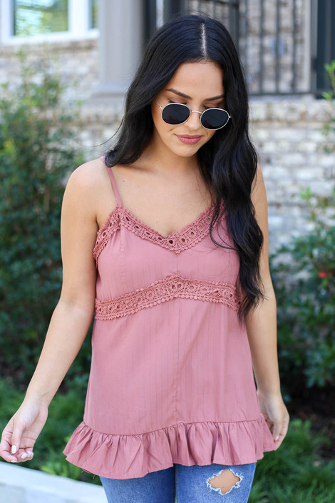 Mauve - Crochet Detail Tank Top