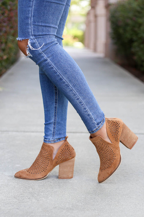 Camel - Laser Cut Side Cut Booties