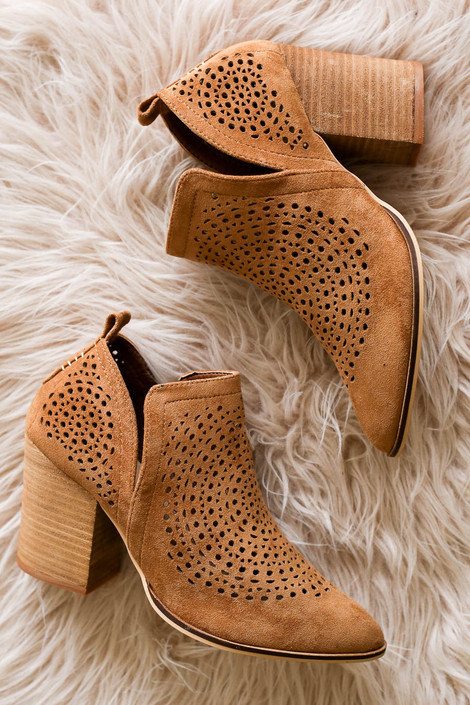 Camel - Laser Cut Side Cut Booties Flay Lay