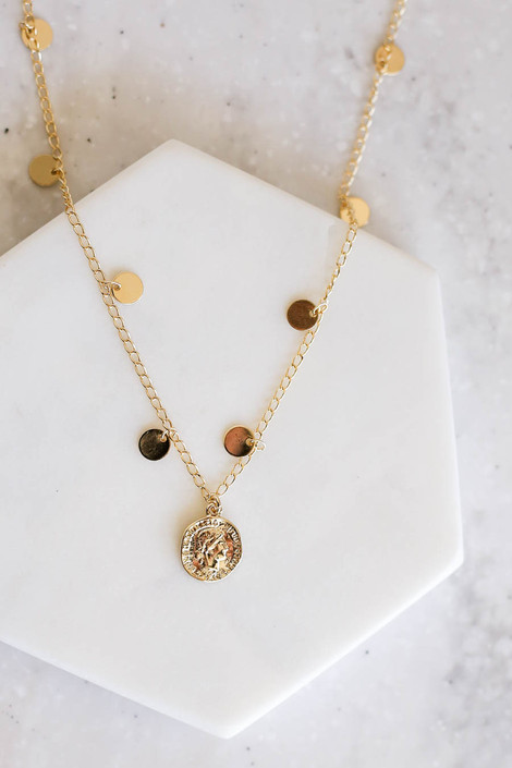 Gold - Disc Accented Coin Necklace