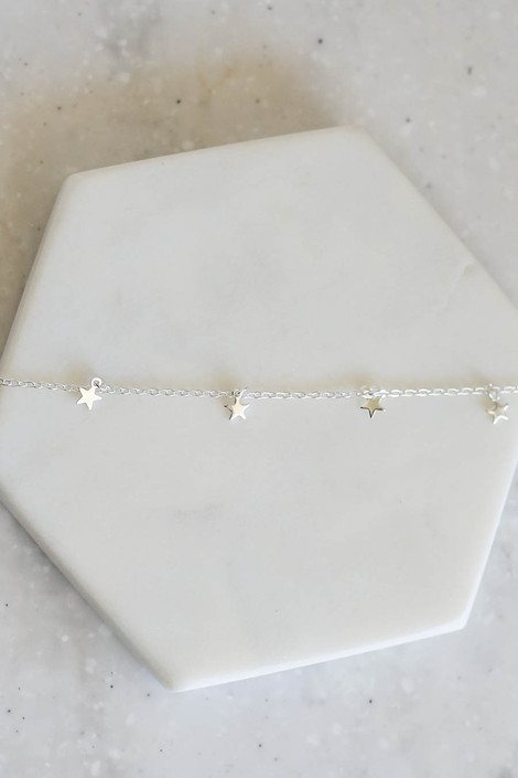 Silver - Star Charm Necklace Detail Flat Lay