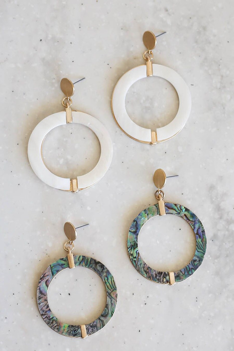 White - and Green Round Statement Earrings