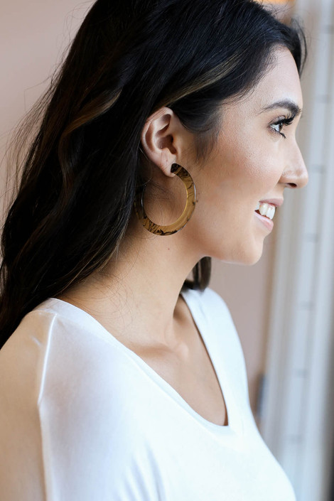 Taupe - Flat Acrylic Hoop Earrings on Model