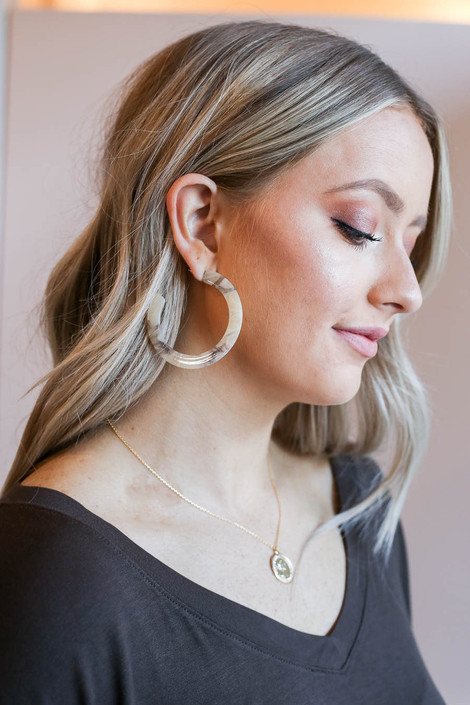 Ivory - Flat Acrylic Hoop Earrings on Model