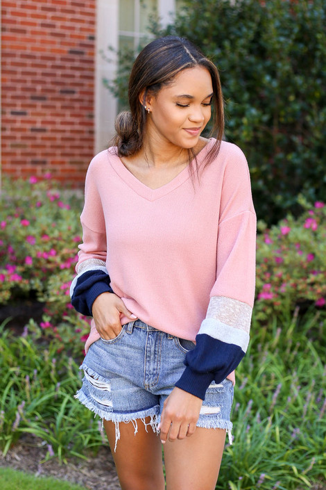 Blush - Color Block Ballon Sleeve Top