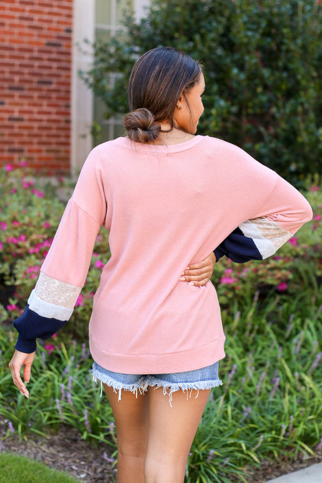 Model wearing Blush Color Block Ballon Sleeve Top Back View