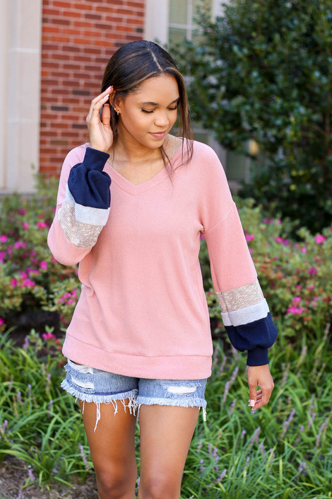 Model wearing Blush Color Block Ballon Sleeve Top