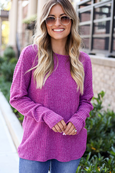 Purple - Twist Back Knit Top