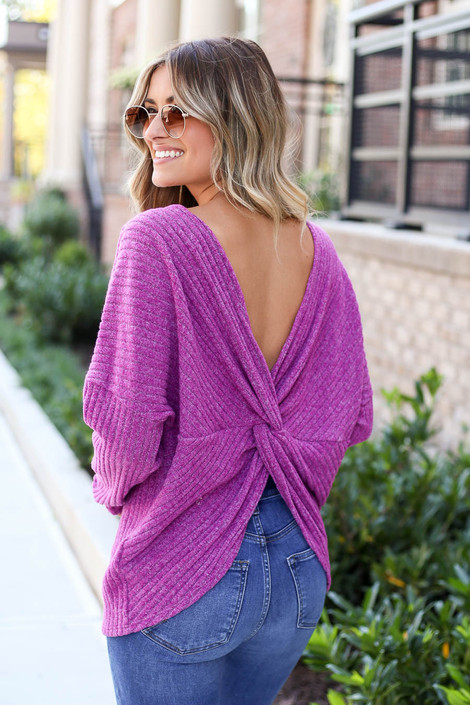 Purple - Twist Back Knit Top Back View