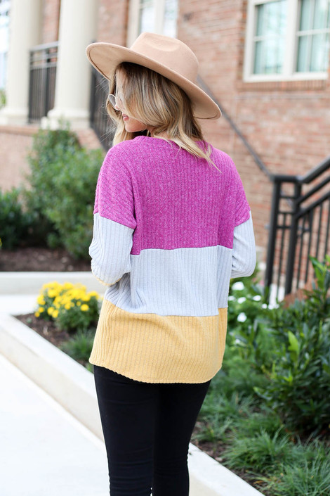 Multi - Ribbed Color Block Knit Top Back View
