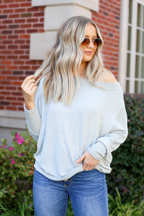 Heather Grey - Soft Knit Boatneck Top Front View