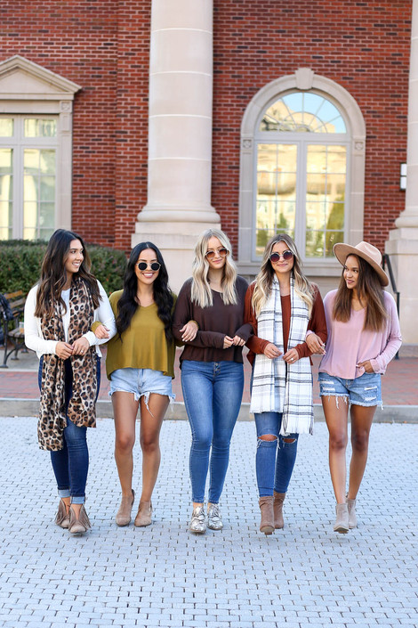 Brown - Models wearing White, Lime, Brown, Rust and Blush Long Sleeve Basic V-Neck Tees