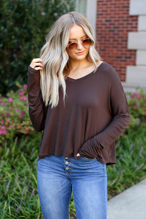 Brown - Basic V-Neck Long Sleeve Tee