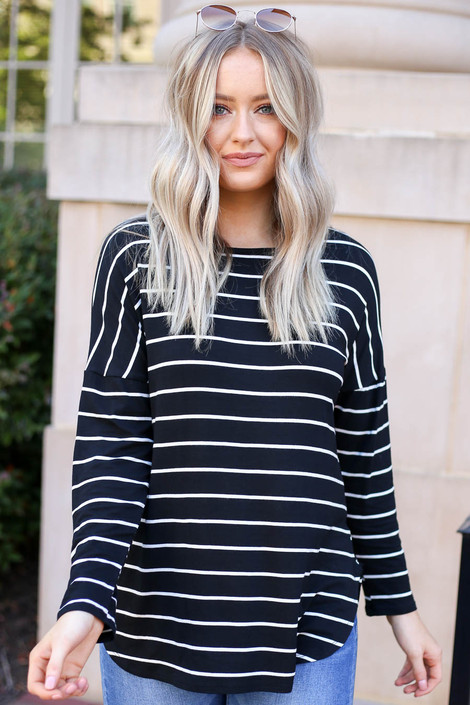 Black - and White Striped Long Sleeve Basic Tee