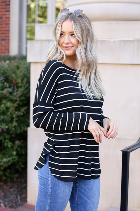 Model wearing Black and White Striped Basic Tee