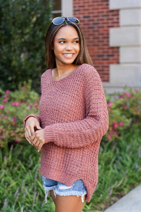 Model wearing Marsala Oversized Knit Sweater Side View