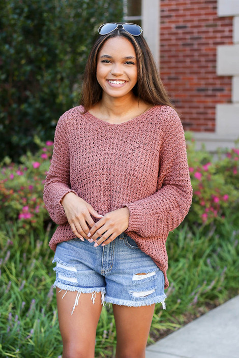 Model wearing Marsala Oversized Knit Sweater