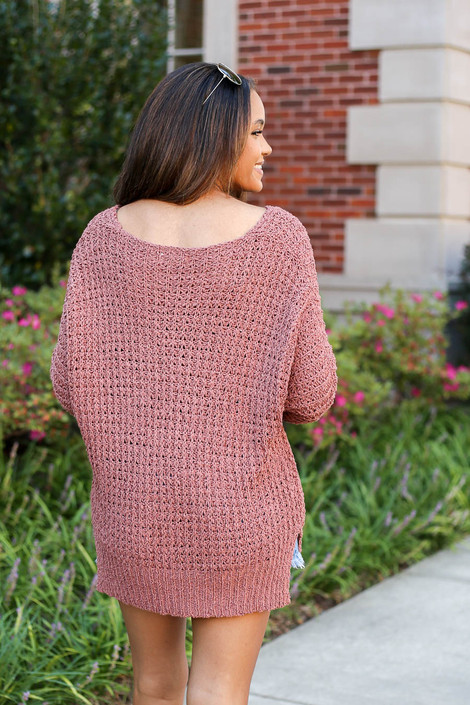 Marsala - Oversized Knit Sweater Back View