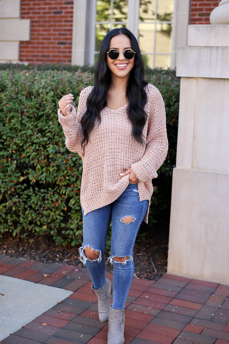 Blush - Oversized Knit Sweater Full View