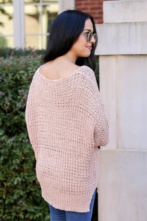 Model wearing Blush Oversized Knit Sweater Back View