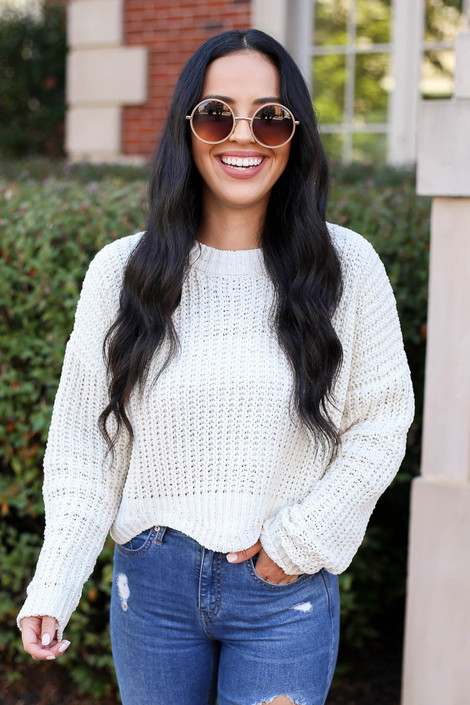 Ivory - Scalloped Chunky Knit Cropped Sweater