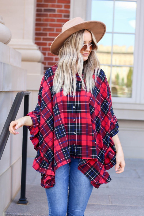 Red - Oversized Plaid Ruffle Sleeve Top