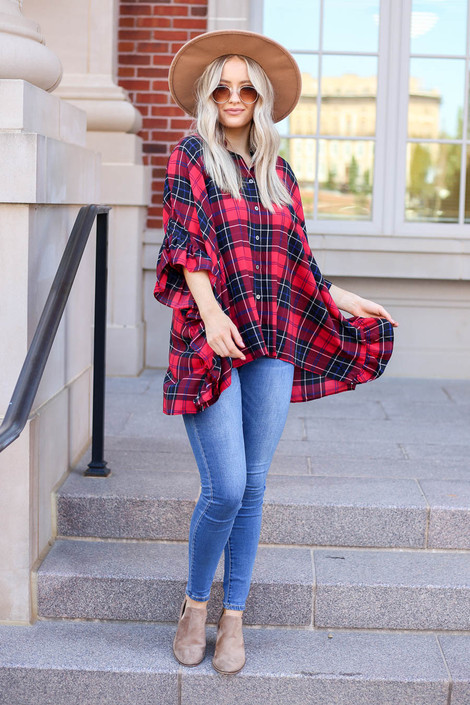 Red - Oversized Plaid Ruffle Sleeve Top Full View