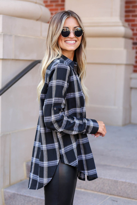 Model wearing Black and White Plaid Flannel Side View