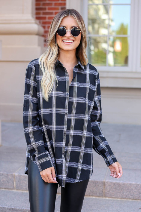 Model wearing Black and White Plaid Flannel Front View