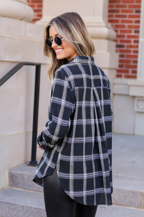Model wearing Black and White Plaid Flannel Back View