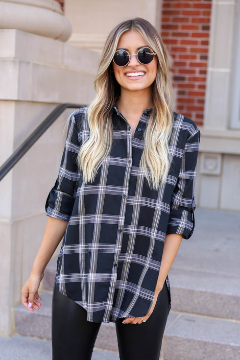 Black - and White Plaid Flannel