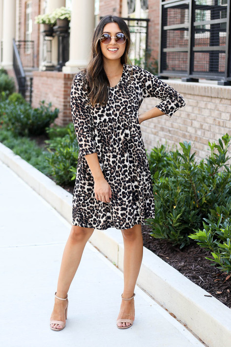 Leopard - 3/4 Sleeve Babydoll Dress Full View