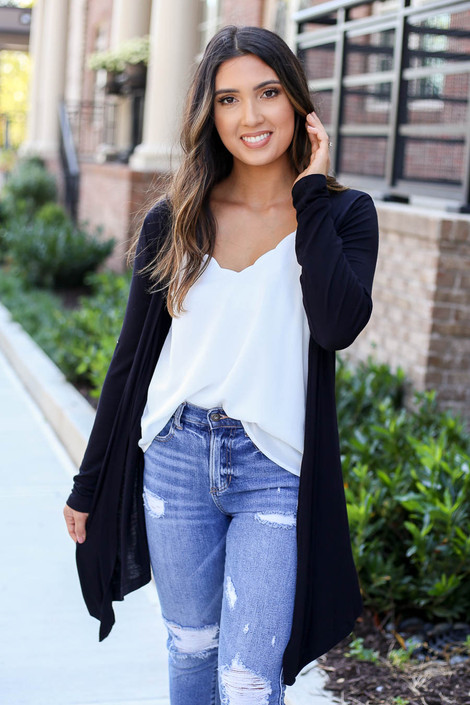 Black - Lightweight Cardigan