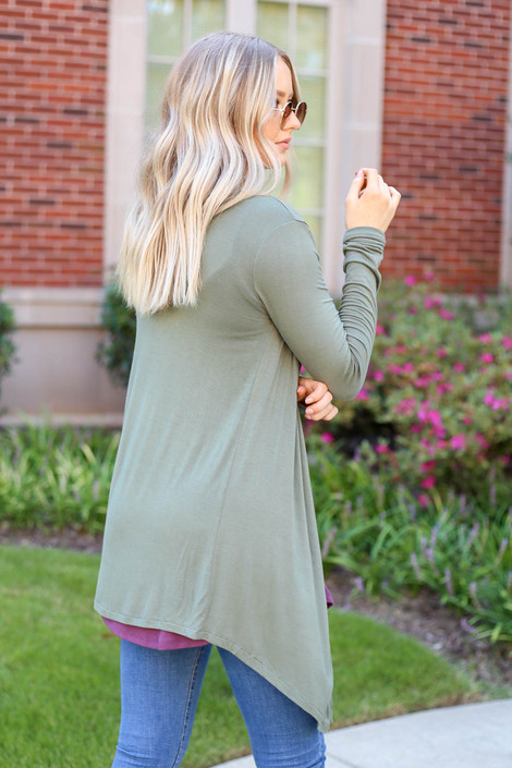 Model wearing Olive Lightweight Cardigan Back View