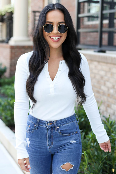 Model wearing White Button Front Ribbed Knit Bodysuit
