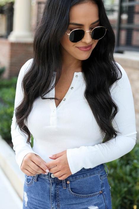 White - Button Front Ribbed Knit Bodysuit