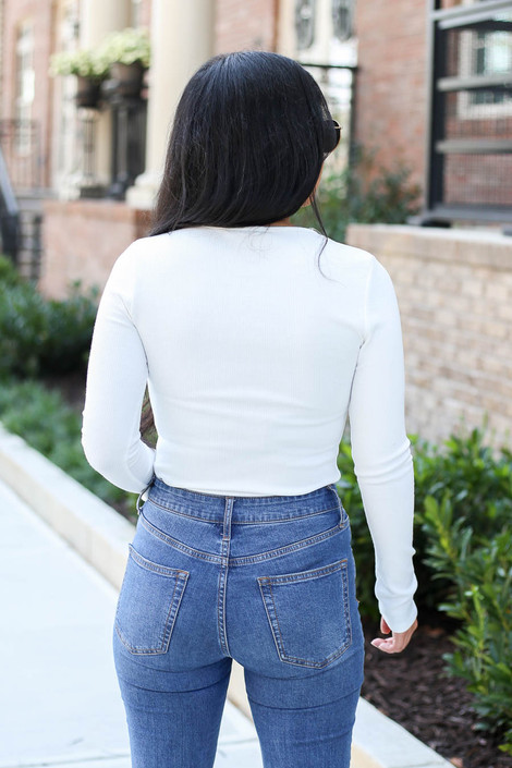 White - Button Front Ribbed Knit Bodysuit Back View