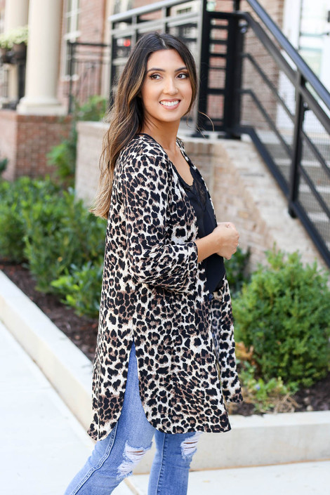 Leopard - Lightweight Cardigan Side View