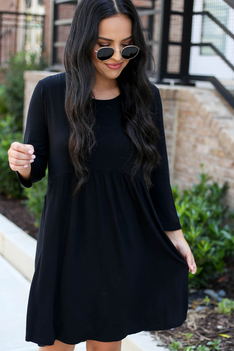 Black - 3/4 Sleeve Babydoll Dress