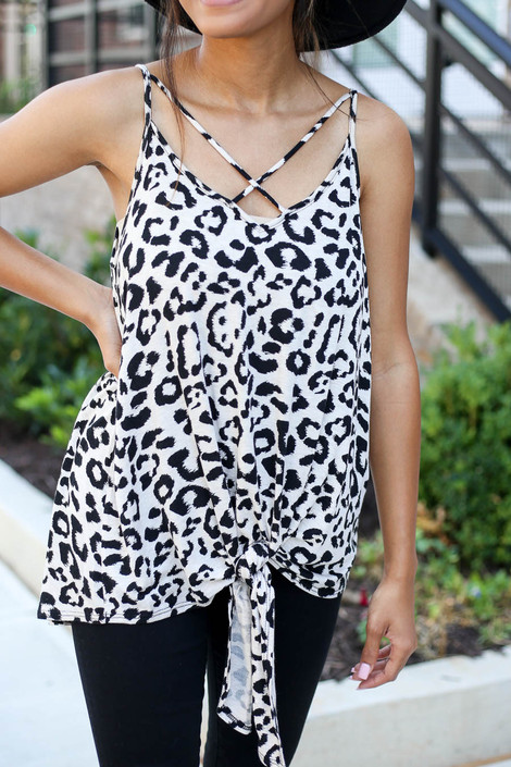 Taupe - Criss Cross Tie Front Leopard Tank Detail View