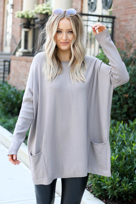 Taupe - Oversized Ribbed Sweater Tunic