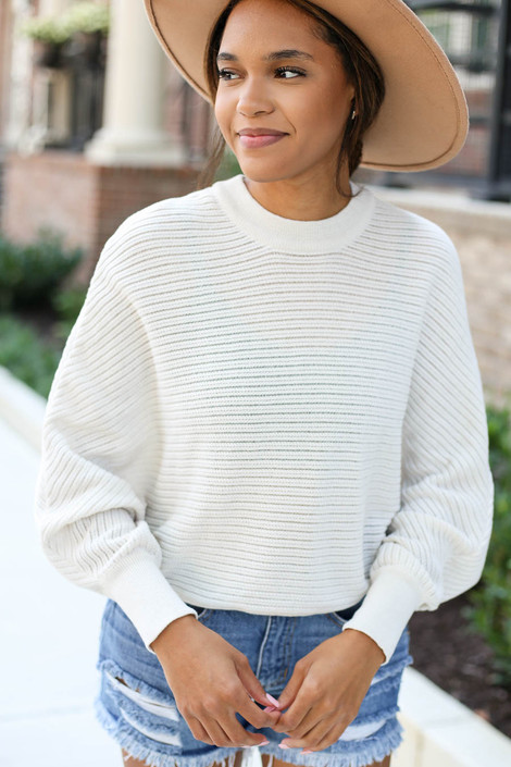 Taupe - Ribbed Batwing Sleeve Sweater Detail View
