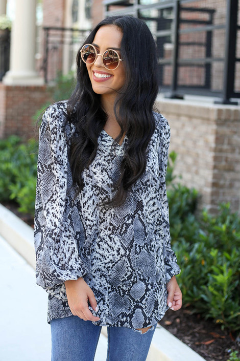 Grey - Snakeskin Balloon Sleeve Blouse