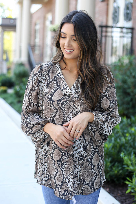Model wearing Taupe Snakeskin Balloon Sleeve Blouse Front View
