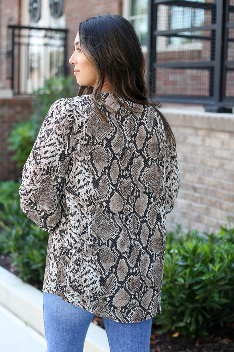Taupe - Snakeskin Balloon Sleeve Blouse Back View