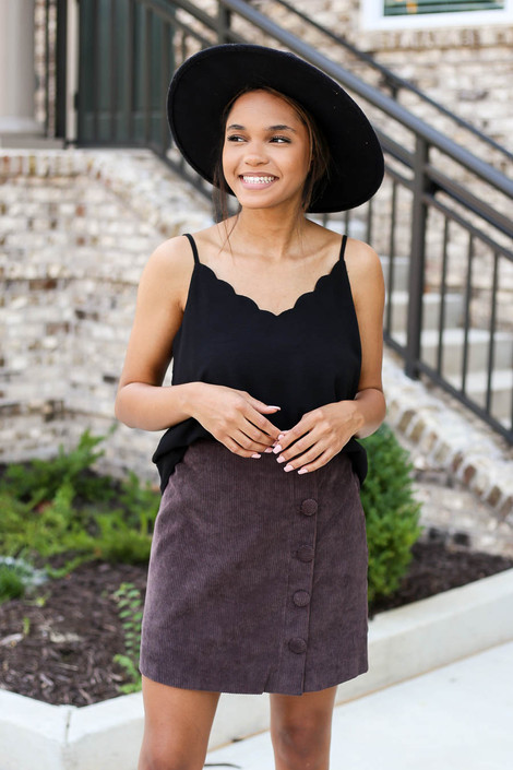 Model wearing Brown Corduroy Button Front Skirt Front View