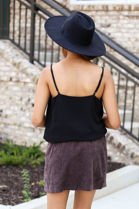 Model wearing Brown Corduroy Button Front Skirt Back View