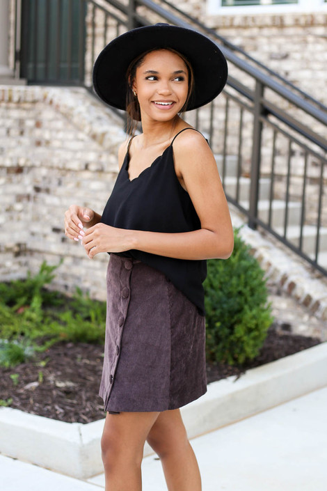 Model wearing Brown Corduroy Button Front Skirt Side View