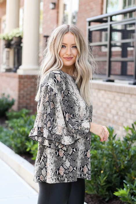 Taupe - Oversized Snakeskin Ruffle Sleeve Top Side View